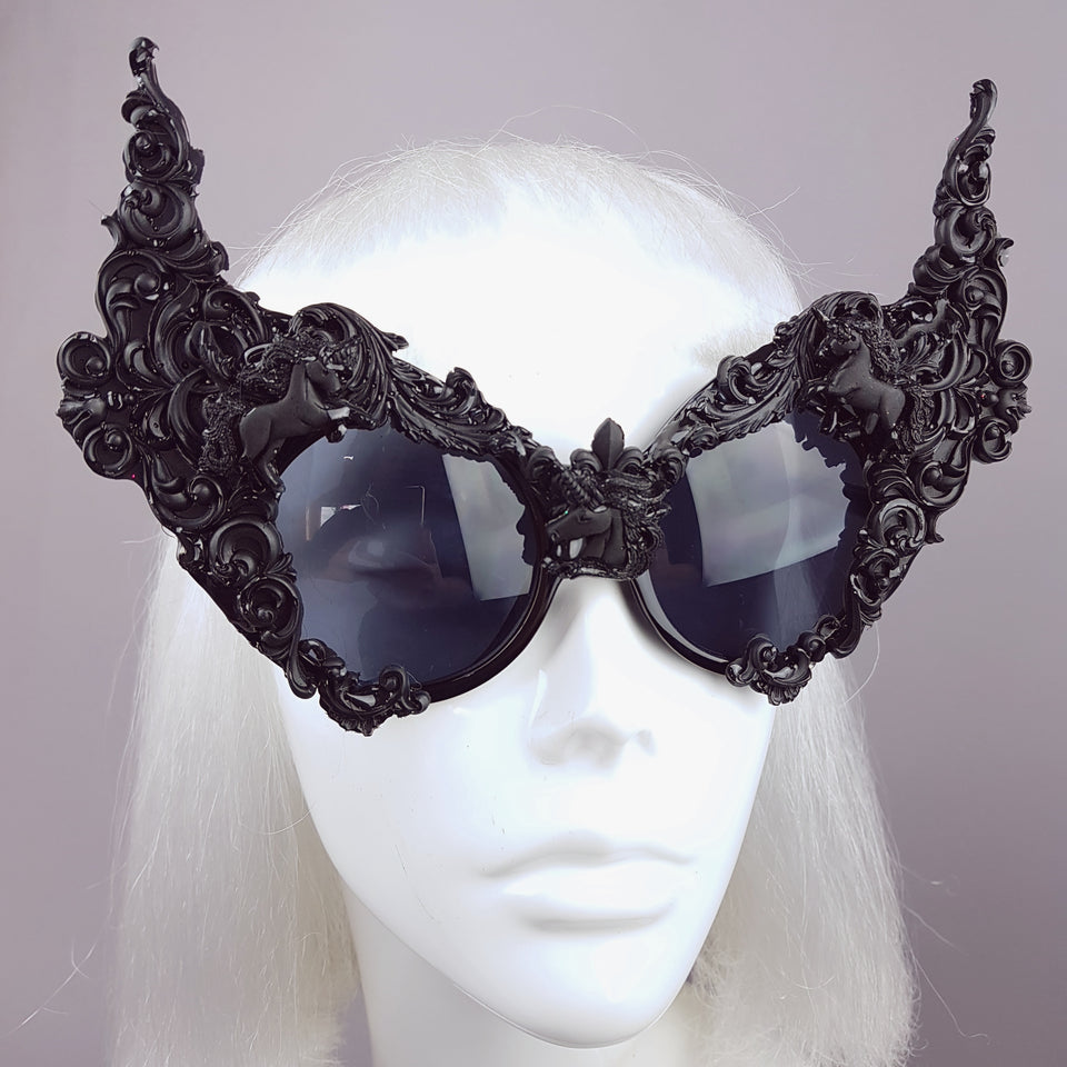 """Mystique"" Black Unicorn Filigree Sunglasses"