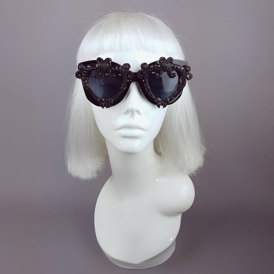 """J'adore"" Black Heart & Bow Filigree Sunglasses"