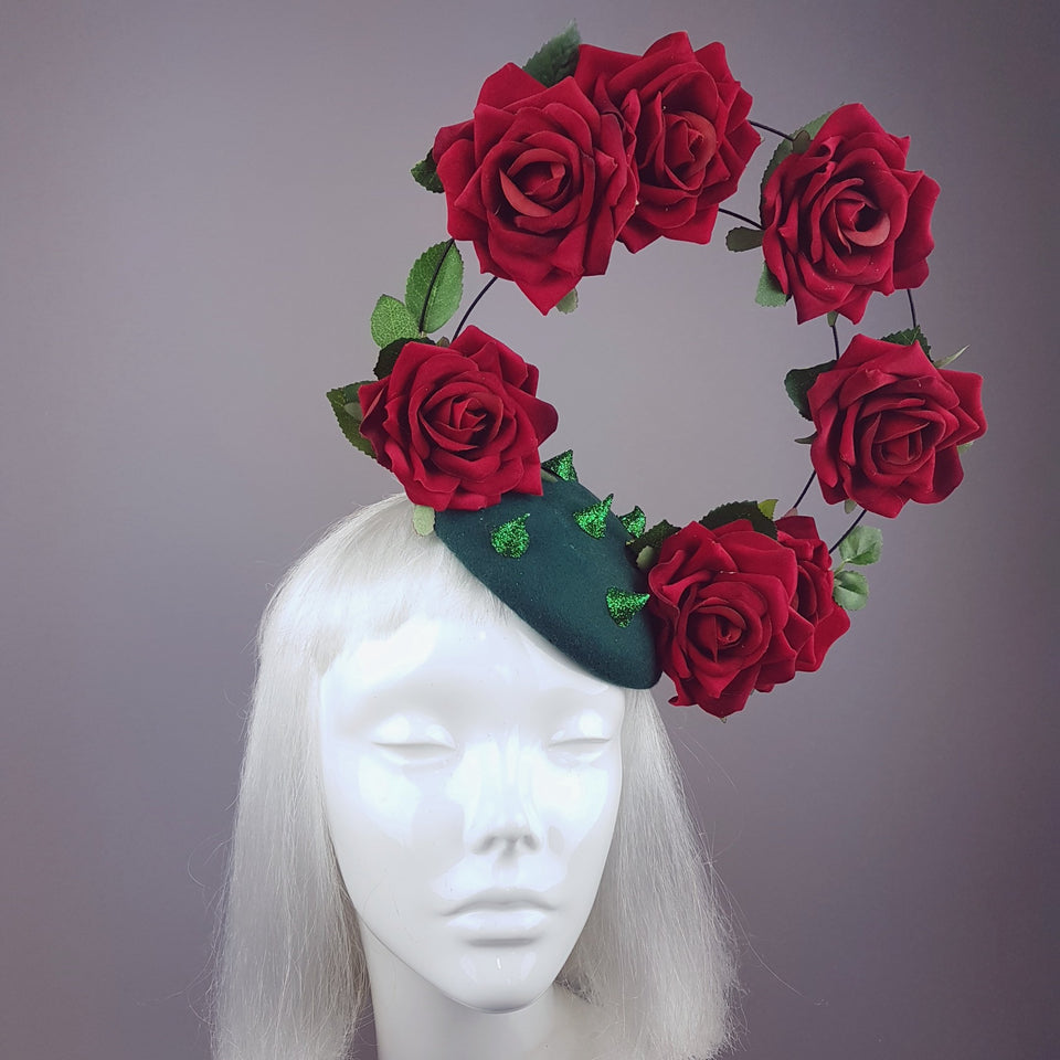 """Les Épines"" Red Rose Halo Fascinator Hat"