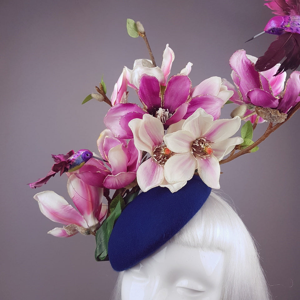 """Eolande"" Pink Magnolia Flowers & Hummingbirds Fascinator Hat"