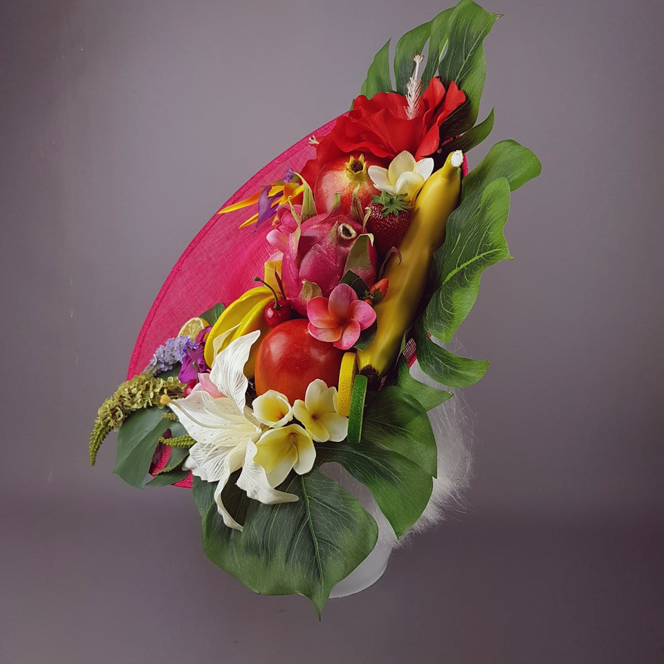 """Carmen"" Colourful Tropical Flower & Fruit Hat"