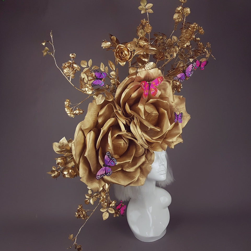 """Rhiannon"" Giant Gold Roses Headdress"
