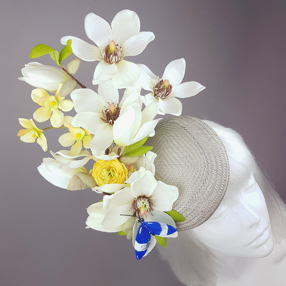 """Lorilla"" Grey and Yellow Magnolia Flowers Fascinator Hat"