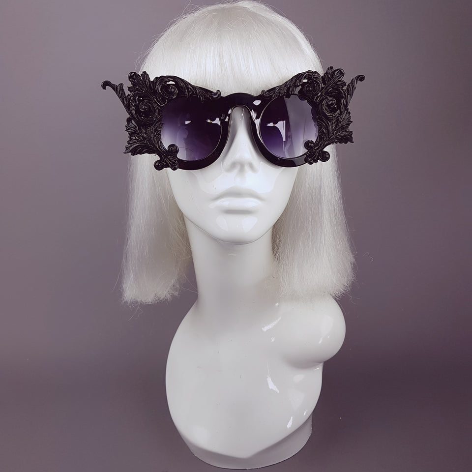 """Dominion"" Black Filigree Ornate Sunglasses"