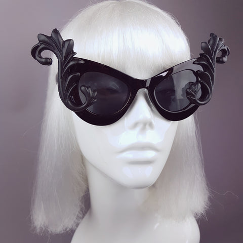 """Diva"" Black Filigree Catseye Sunglasses"