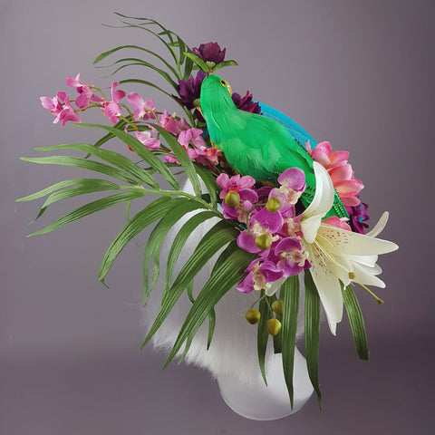 """Paradiso"" Parrot Colourful Tropical Flower Hat"