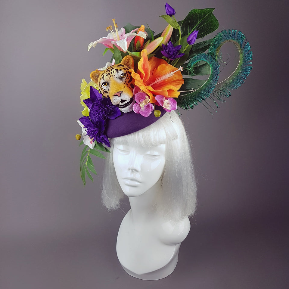 """Bali"" Tiger Colourful Tropical Flower Fascinator Hat"