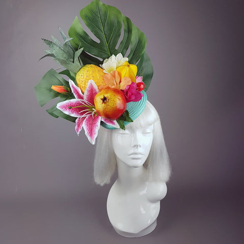 """Mangiare"" Tropical Fruit & Flower Fascinator Hat"