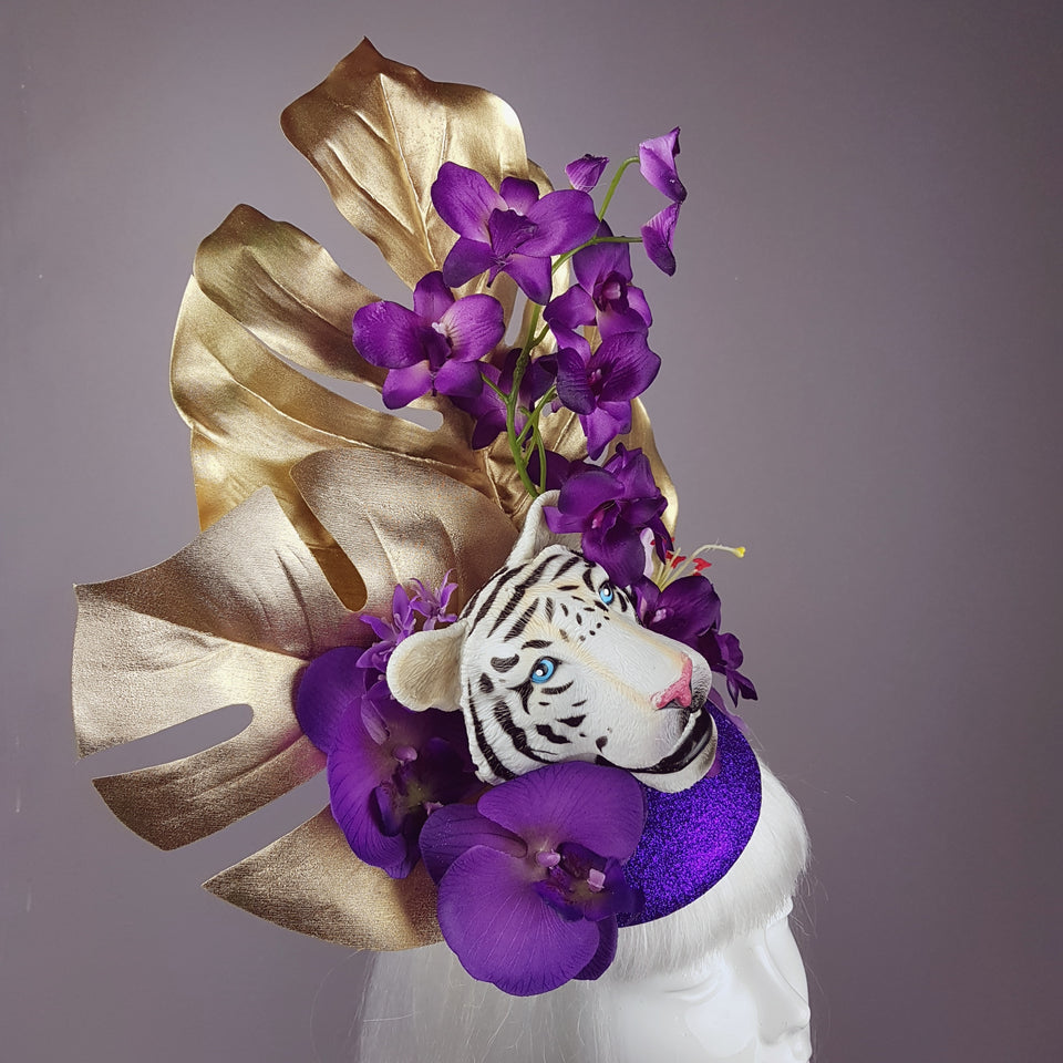 """Byakko"" Tiger Gold & Purple Tropical Flower Fascinator Hat"