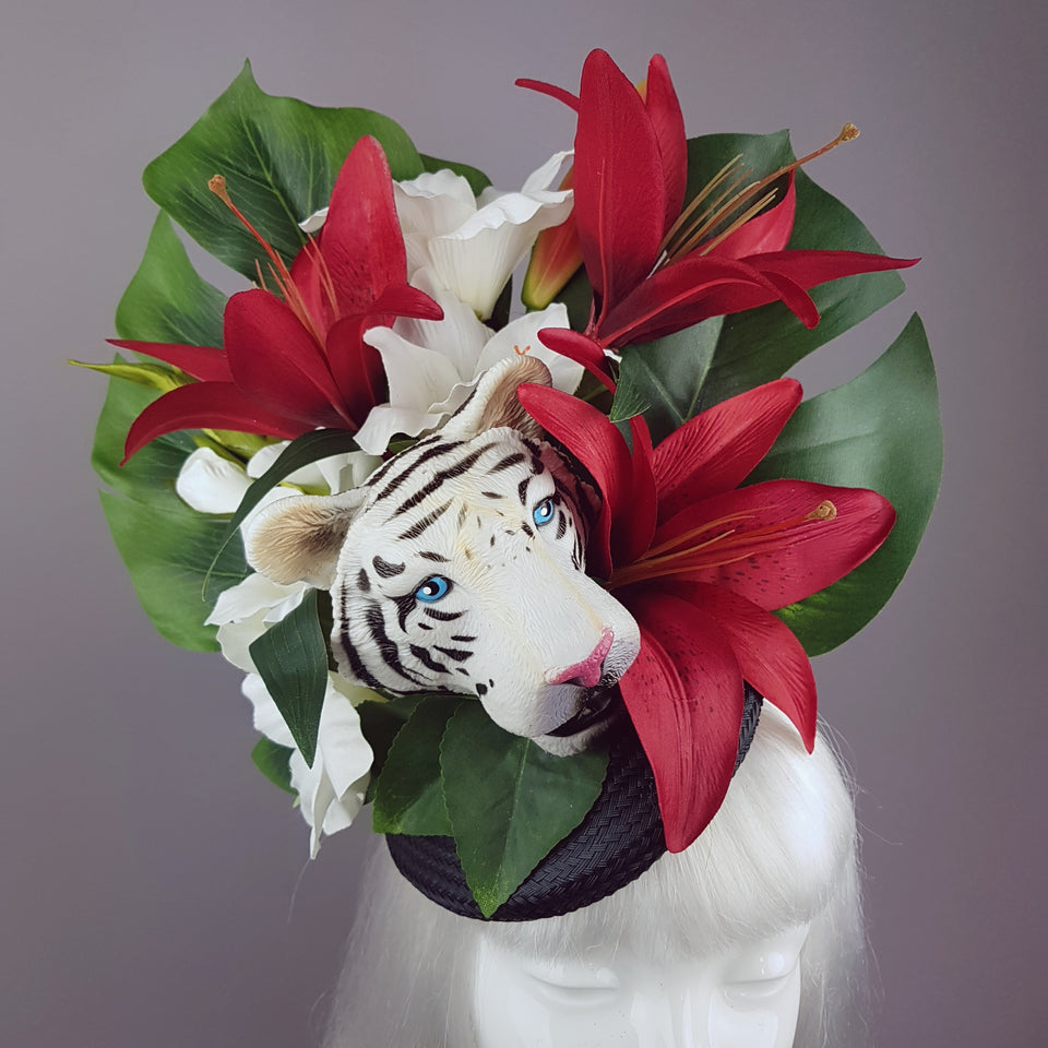 """Baekho"" Tiger Red & Black Tropical Flower Fascinator Hat"