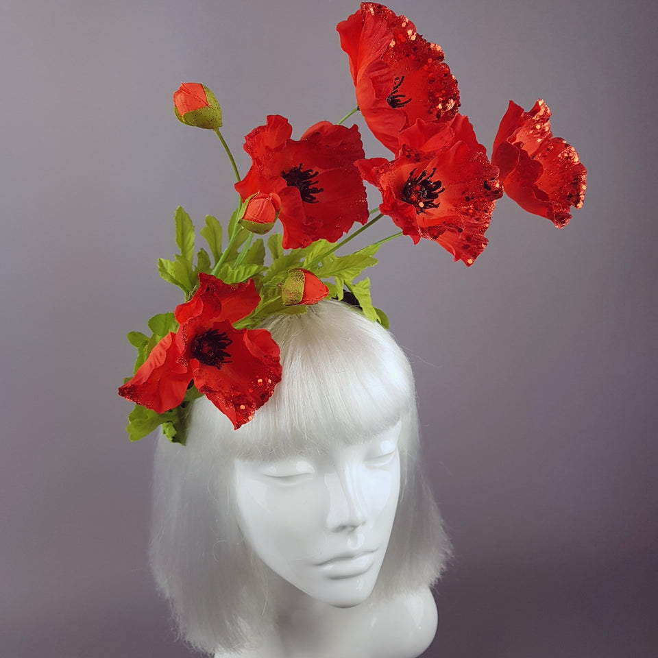 """Opium"" Red Poppy Flower Headpiece"