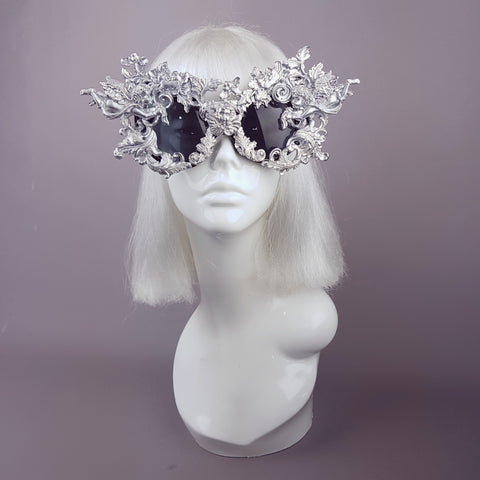 """Metal Guru"" Silver Filigree Cherub Sunglasses"