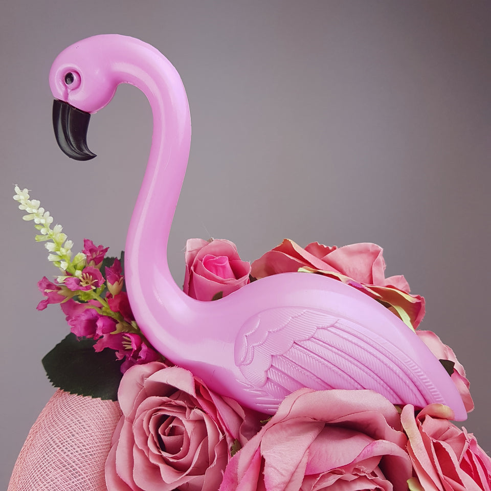 """Chichi"" Pink Flamingo and Roses Fascinator Hat"