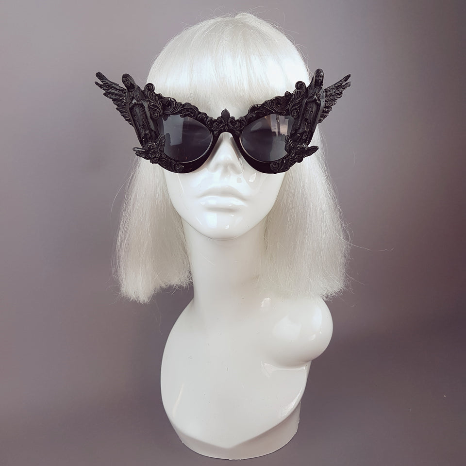"""Tahira"" Black Virgin Mary Filigree Sunglasses"