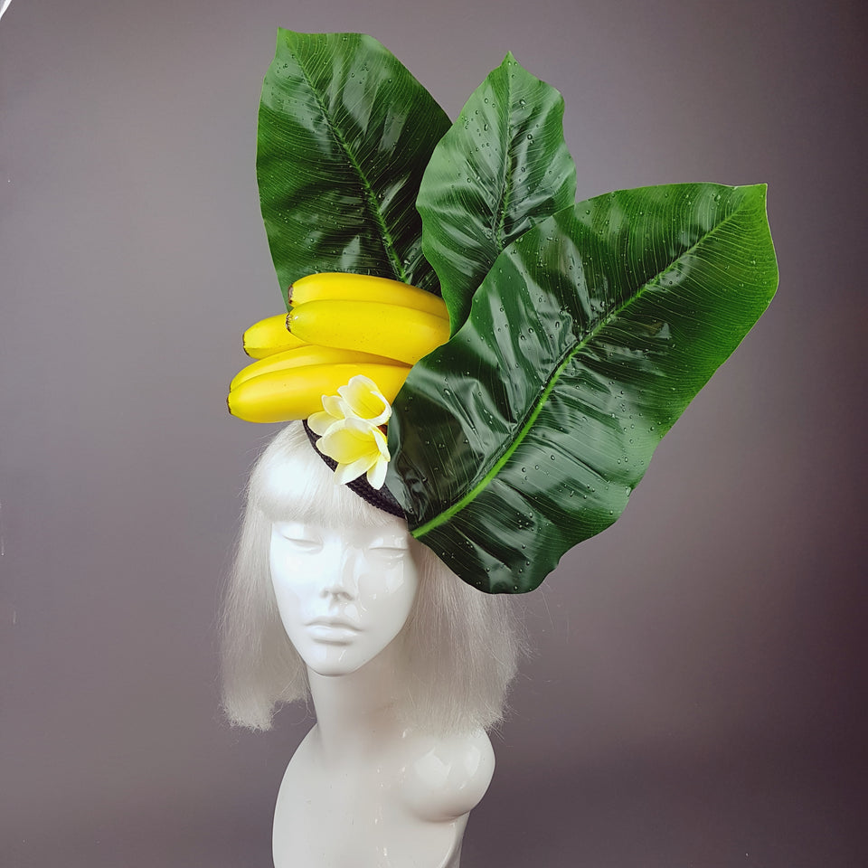 """Plátano"" Tropical Banana and Banana Leaf Fascinator Hat"