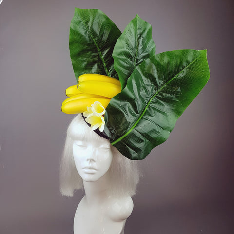 """ Plátano"" Tropical Banana and Banana Leaf Fascinator Hat"