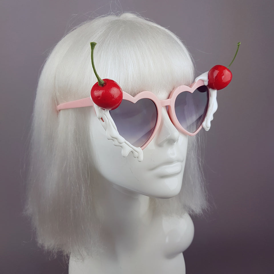 """Frosting"" Cherries & Cream Heart Shaped Sunglasses"