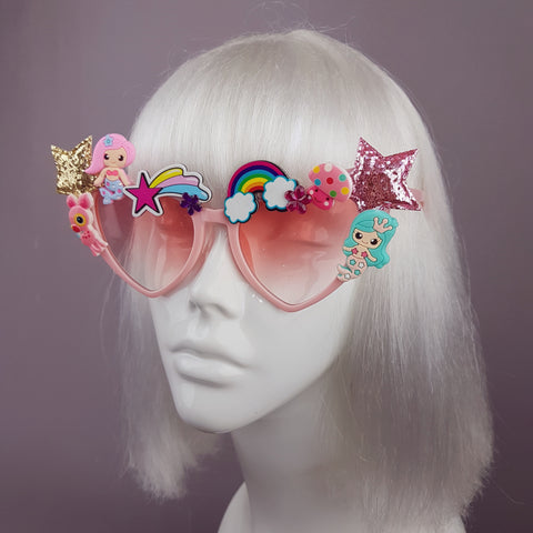 """Magic"" Kawaii Mermaid & Star Heart Shaped Sunglasses"