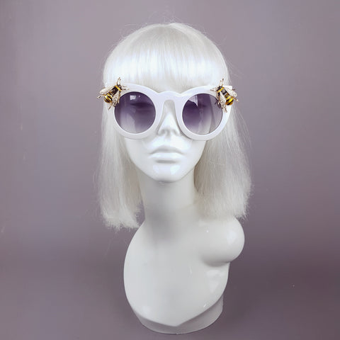 """Bumbler"" White Yellow Bee Sunglasses"