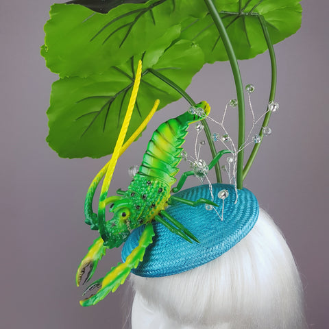 """Subacqueo"" Lilypad, Bubbles & Lobster Fascinator Hat"