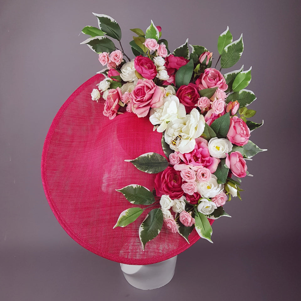 """Rose Garden"" Extra Large Pink Flower Hat with Bee"