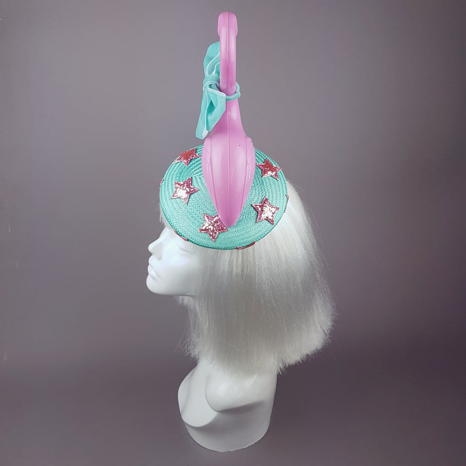 """Fifi la Floo"" Pastel Pink & Blue Flamingo Fascinator Hat"