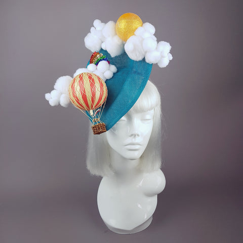 """Oh The Places You'll Go"" Hot Air Balloon, Sun Clouds & Rainbow Fascinator Hat"