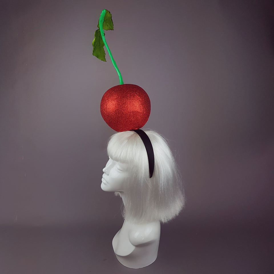 """Cherry on Top "" Red Glitter Giant Cherry Headpiece"