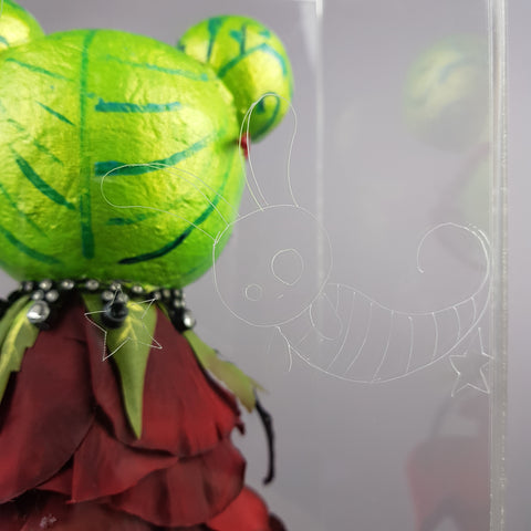 """Rosebud"" Rose & Ladybird Doll LowBrow Art Sculpture in Perspex Box"