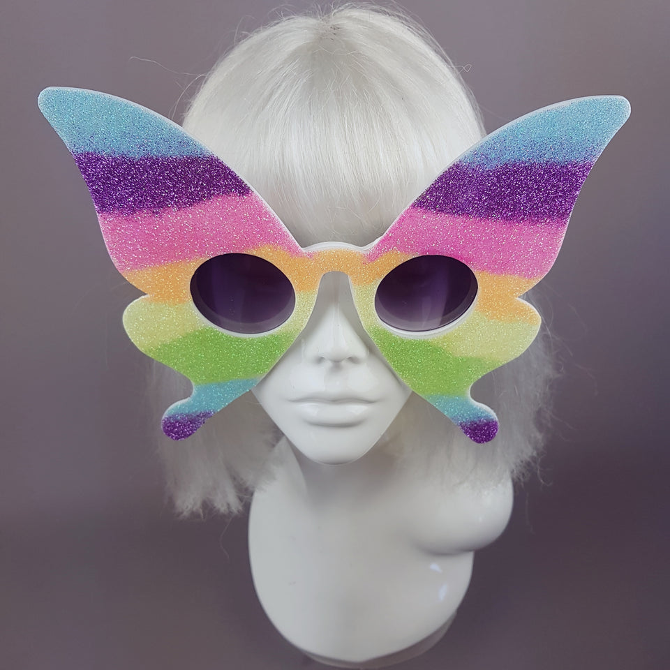 """Transformation"" Rainbow Glitter Butterfly Sunglasses"