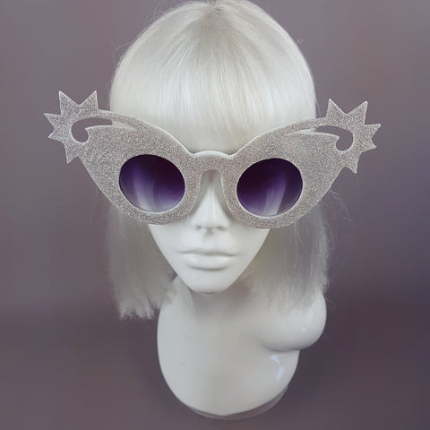 """Twinkle"" Holographic Silver Glitter Stars Sunglasses"