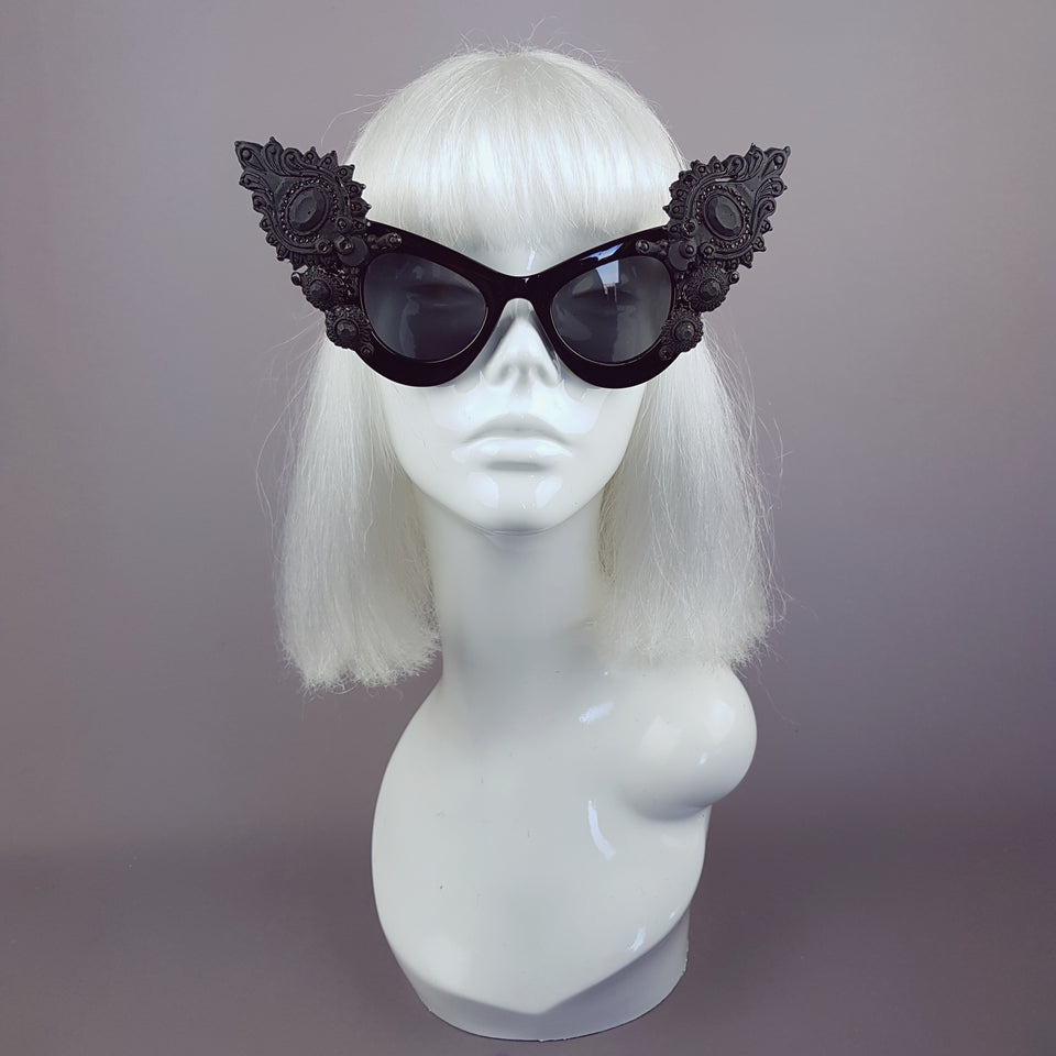 """Daemon"" Black Gothic Filigree Sunglasses"