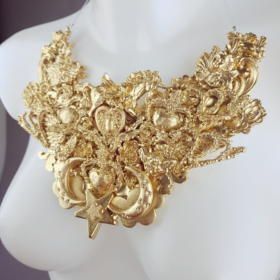 """Bael"" Ornate Gold Filigree Neckpiece"