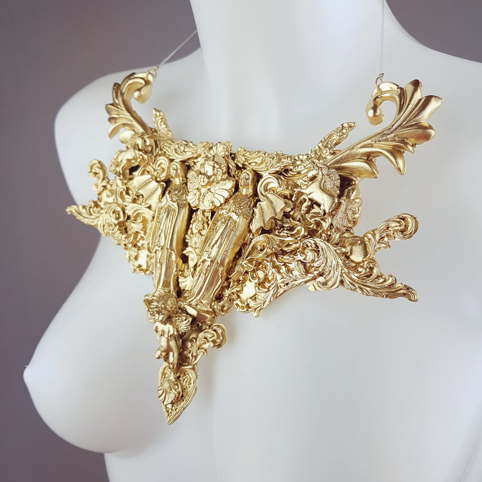 """2 Virgins"" Gold Filigree Statement Neckpiece"