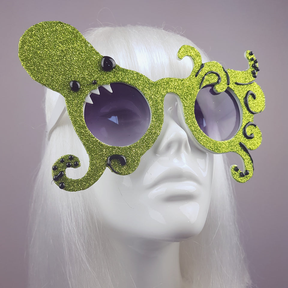 """Envuelto"" Lime Green Glitter Octopus Sunglasses"