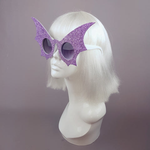 """Ardat-Lile"" Light Purple Glitter Bat Wing Sunglasses"