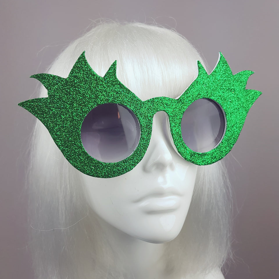 """Tulipán"" Green Glitter Flower Sunglasses"