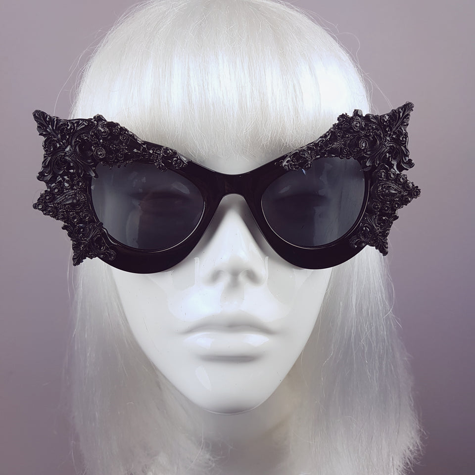 """Eisheth"" Black Filigree Bat Catseye Sunglasses"