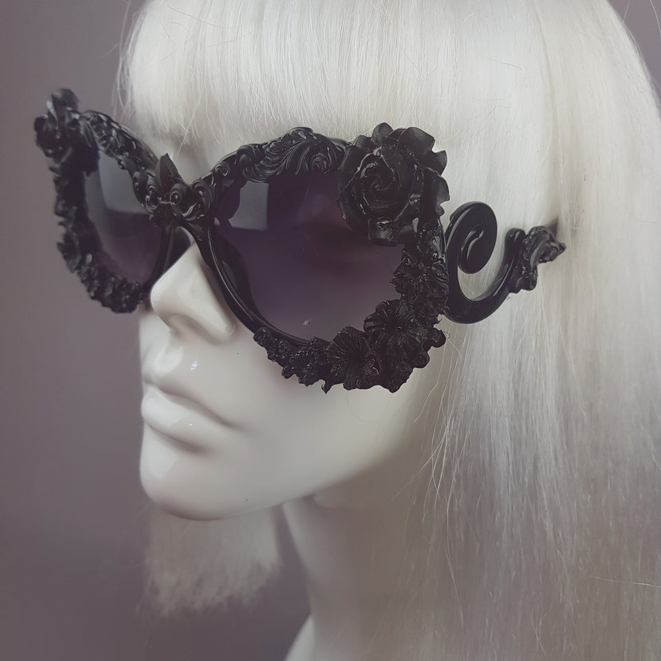 """Noonwraith"" Black Rose Filigree Sunglasses"