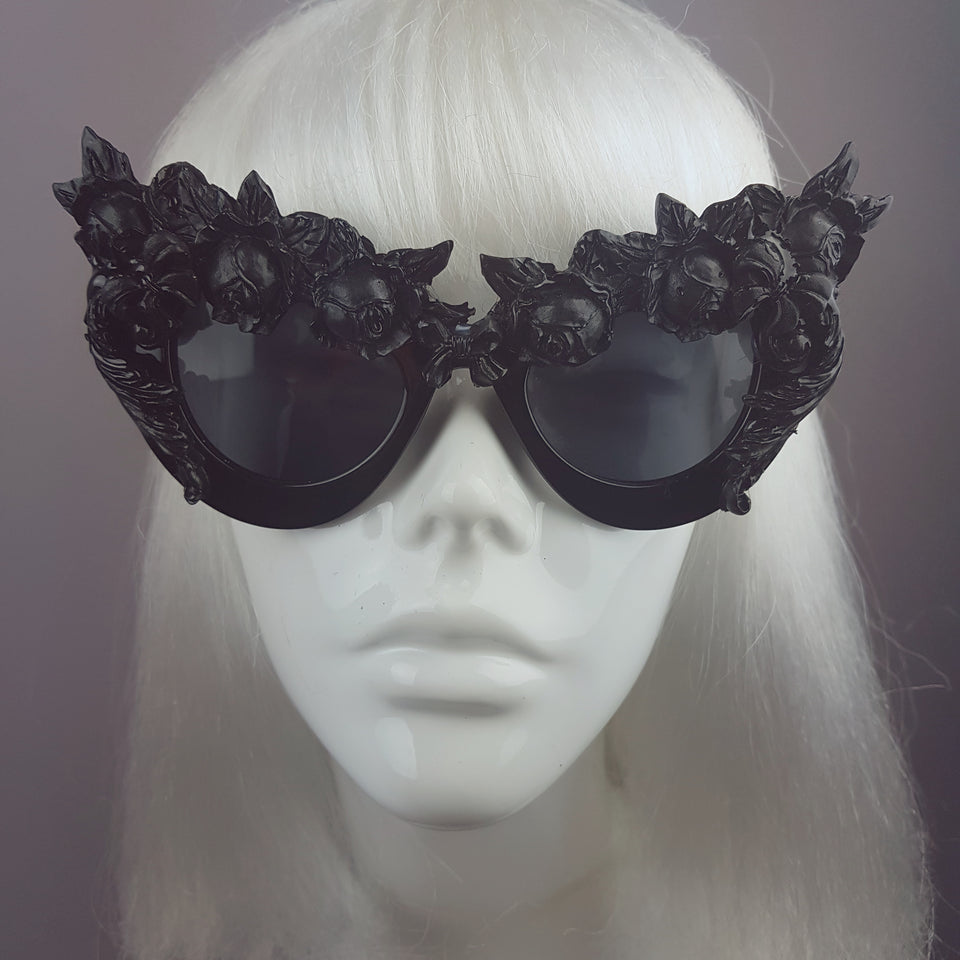 """Lilitu"" Black Rose Filigree Catseye Sunglasses"