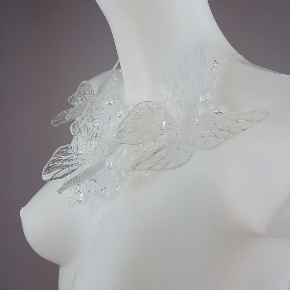 """Ectoplasm"" Clear Butterfly and Gem Neckpiece"