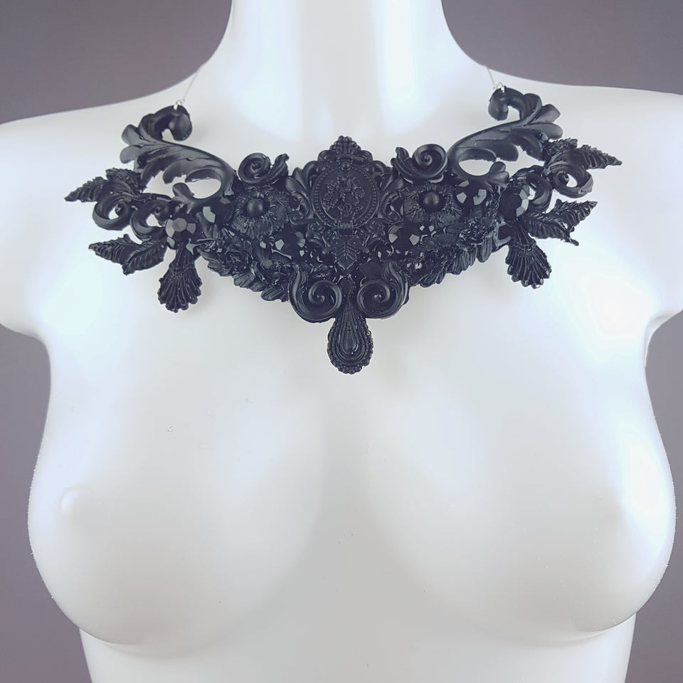 """Kasdeya"" Black Baroque Filigree Neckpiece"