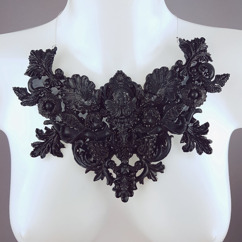 """Lezabel"" Black Baroque Cherub Angels Filigree Neckpiece"
