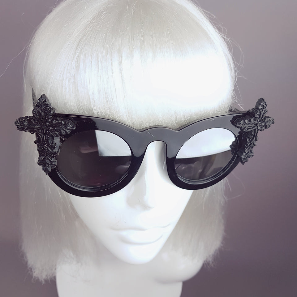 """Pure"" Black Filigree Cross Mirrored Sunglasses"