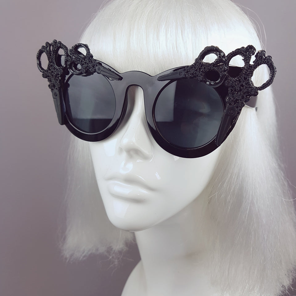"""Assisi"" Black Filigree Scissors Sunglasses"