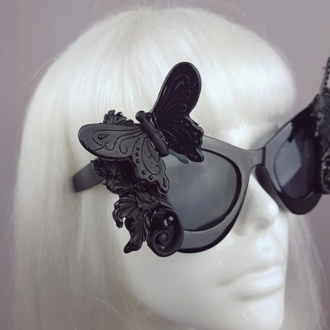 """Jezebeth"" Black 3D Butterflies Filigree Catseye Sunglasses"