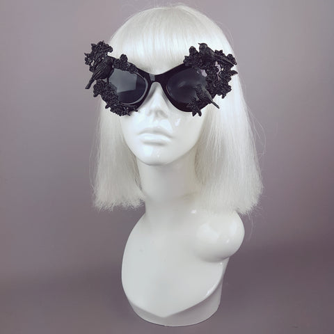 """Lilith"" Black Bird & Flowers Filigree Catseye Sunglasses"