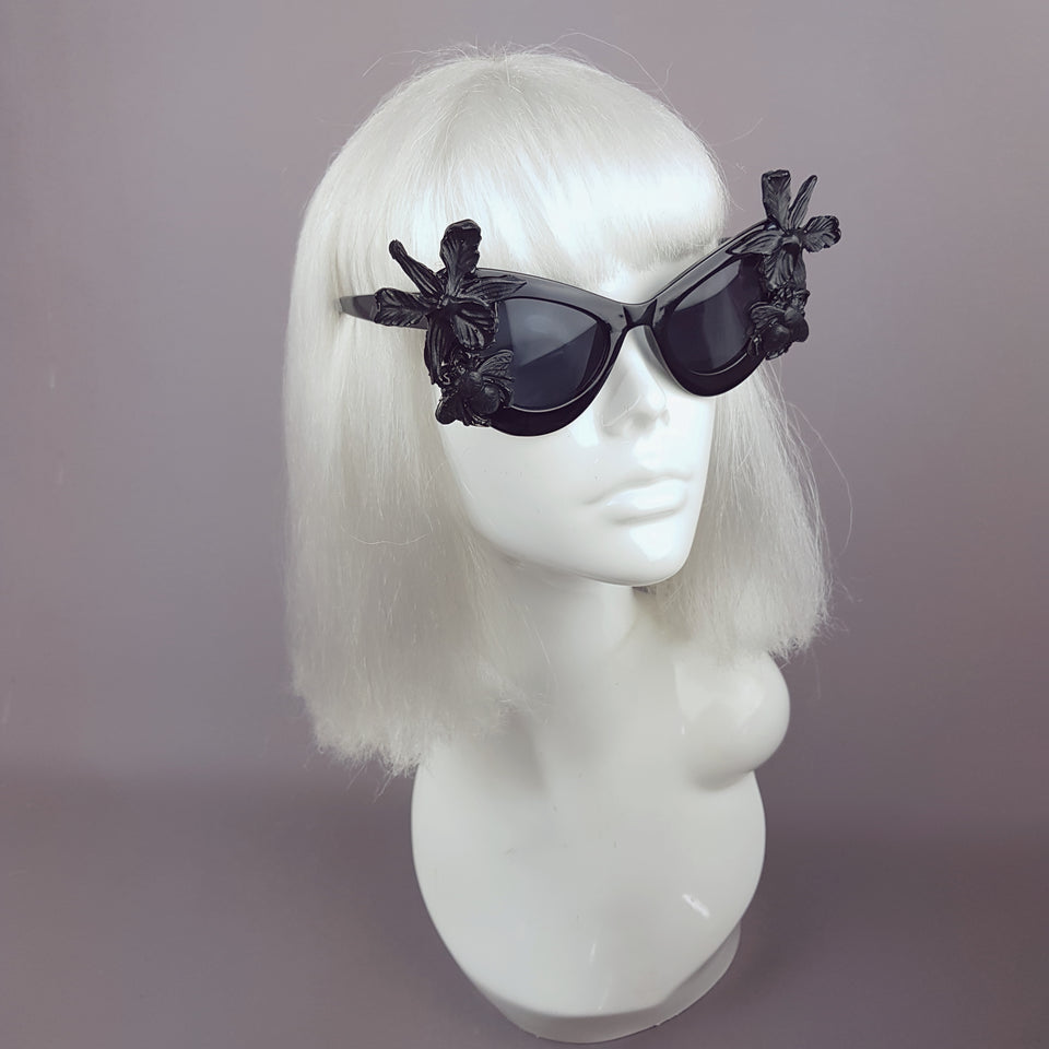 """Nimue"" Black Orchid & Bee Catseye Sunglasses"
