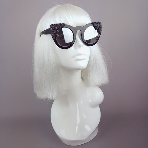 """Mara"" Black Filigree Mirror Sunglasses"