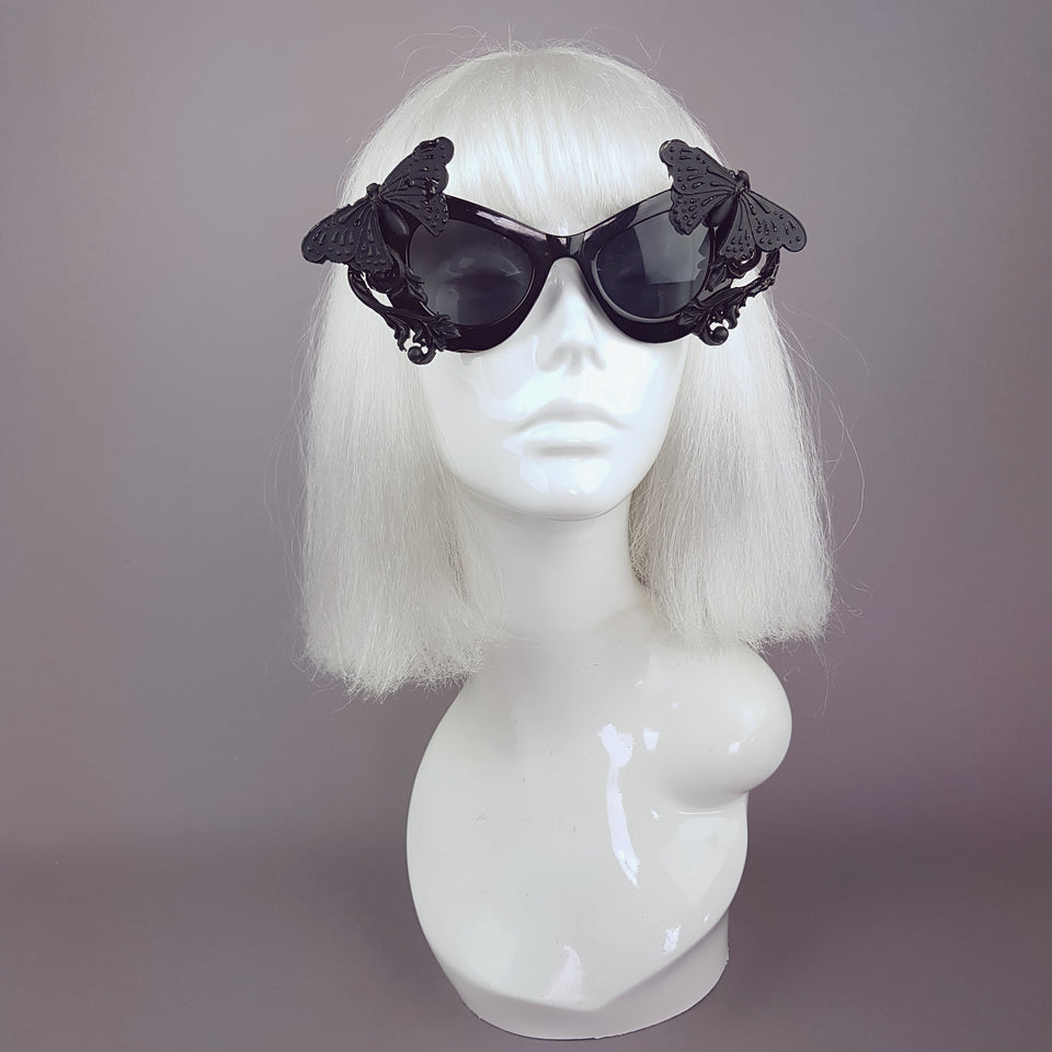"""Pandora"" Black 3D Butterflies Filigree Catseye Sunglasses"
